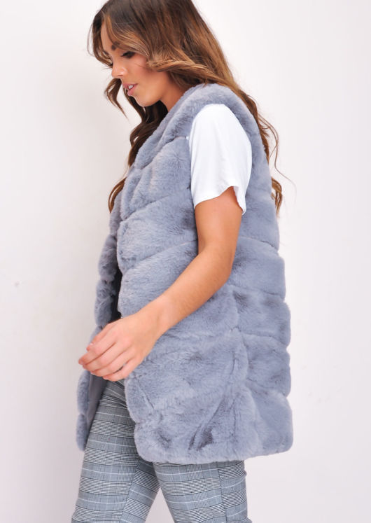 Long Faux Fur Gilet Grey