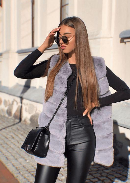 Long Faux Fur Gilet Grey