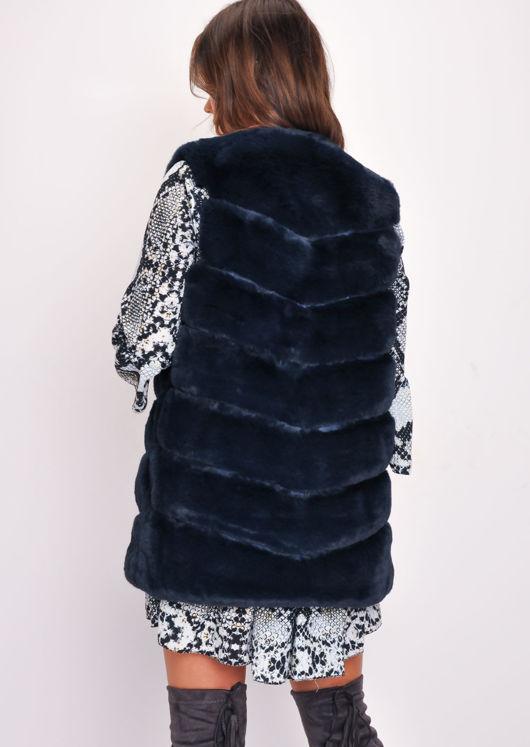 Long Faux Fur Gilet Navy Blue