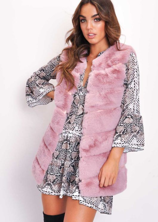 Long Faux Fur Gilet Mauve Pink