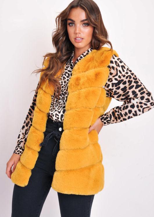 Long Faux Fur Gilet Mustard Yellow