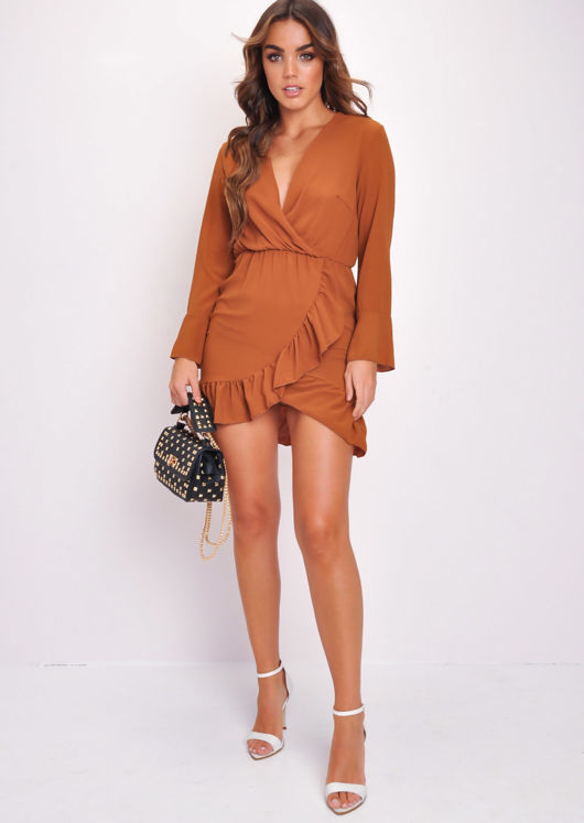 Long Flare Sleeve Frill Hem Wrap Dress Brown