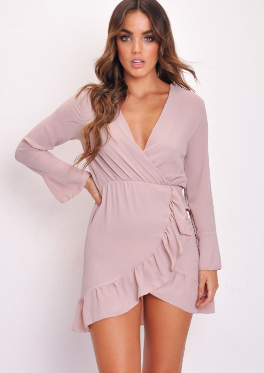 Long Flare Sleeve Frill Hem Wrap Dress Pink