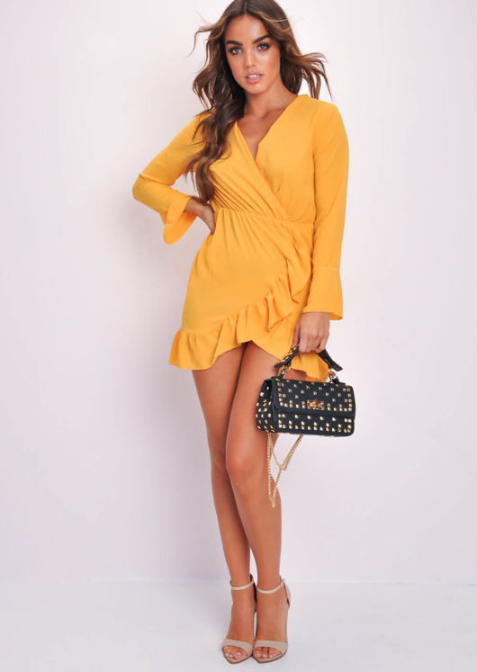 0a59fbbd525f Long Flare Sleeve Frill Hem Wrap Dress Yellow