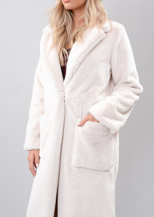 Fluffy Long Length Faux Fur Coat Cream White