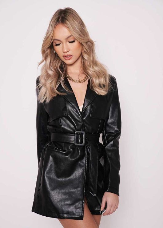 Faux Leather Pu Long Line Collared Belted Shacket Jacket Black