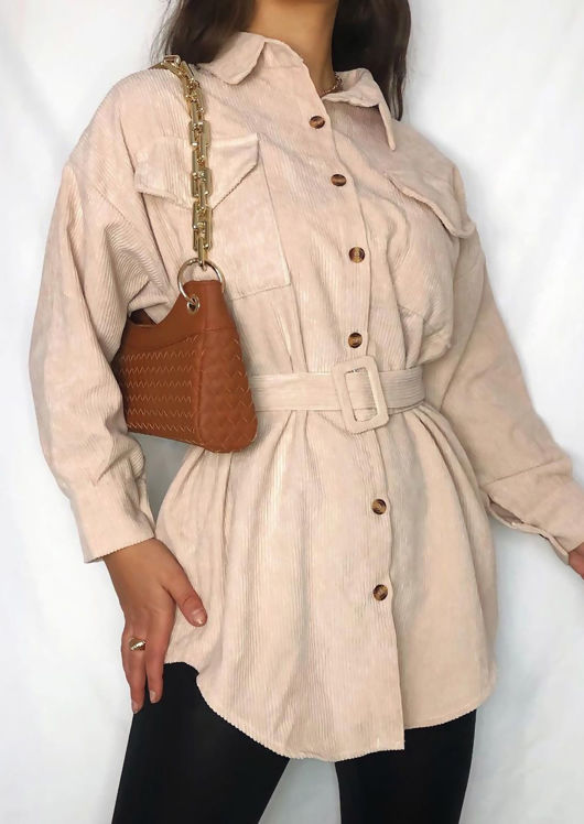 Long Line Front Pockets Belted Corduroy Long Sleeve Shacket Beige