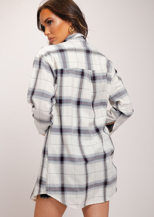 Longline Checked Button Down Shirt Dress White