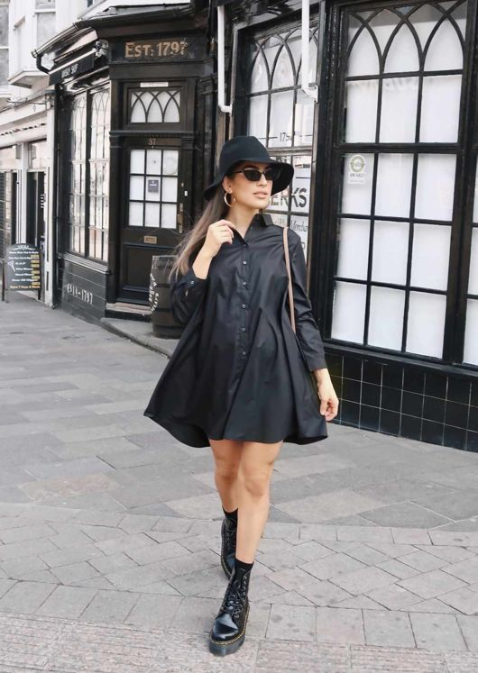 Long Sleeve Button Down Flare Shirt Dress Black