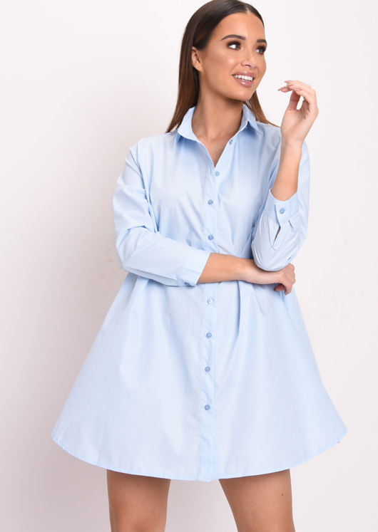 Long Sleeve Button Down Flare Shirt Dress Blue