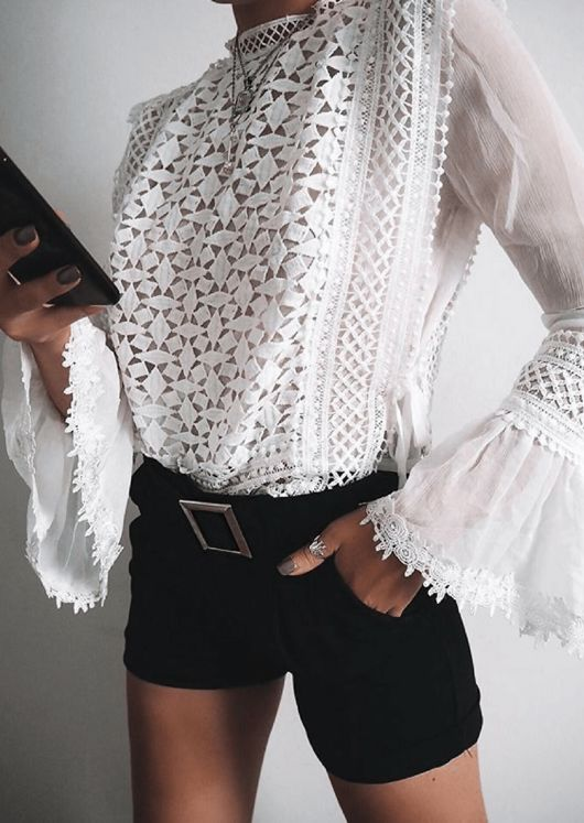 Long Sleeve Crochet Lace Top White