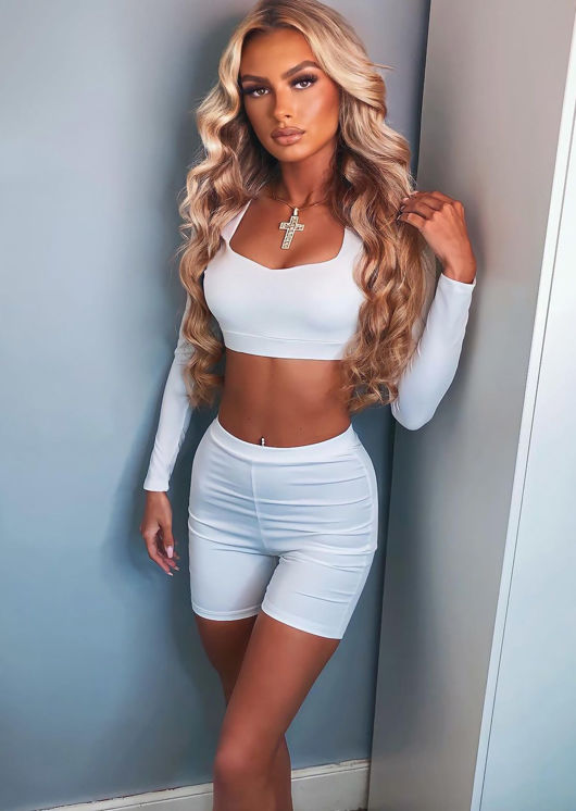 Long Sleeve Crop Top and Cycling Shorts Loungewear Set White