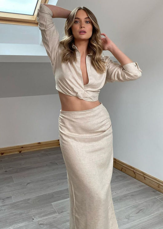 Long Sleeve Cropped Shirt Top And Side Split Midi Skirt Co Ord Set Beige