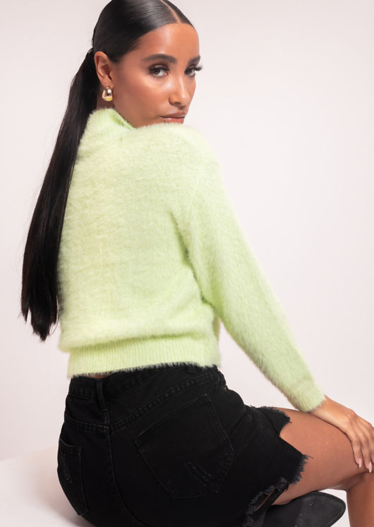 Long Sleeve Fluffy Knit Cropped Sweater Green