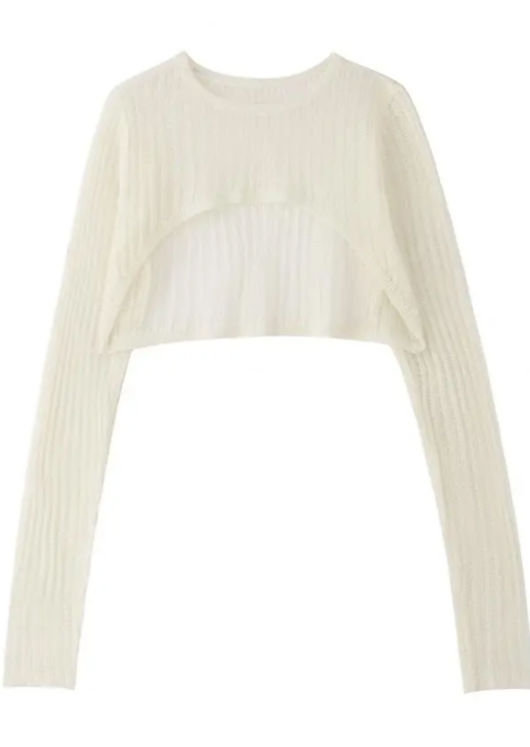Long Sleeve Knit Crocheted Cropped Sweater Top White