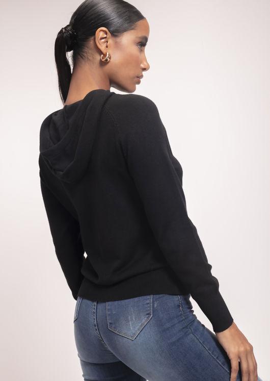 Long Sleeve Knit Hoodie Jumper Black