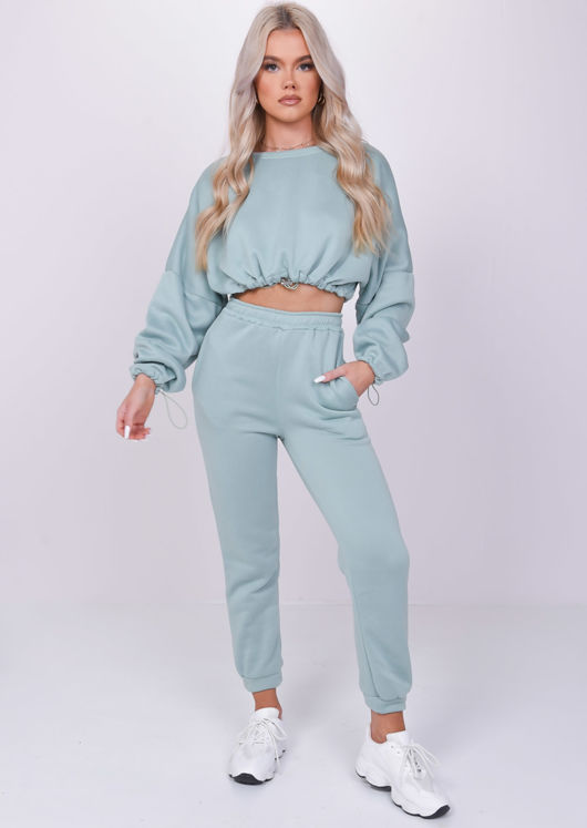Long Sleeve Oversized Crop Top And Jogger Loungewear Co Ord Set Green