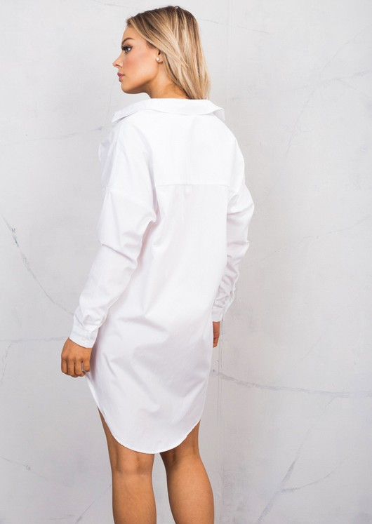 9ad9f9845e24 Dip Hem Long Sleeve Oversized Shirt Dress White