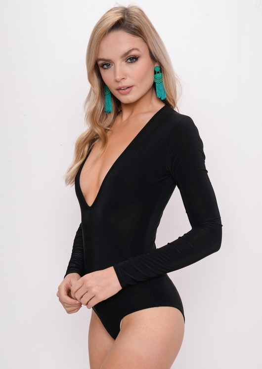 Long Sleeve Plunge Bodysuit Black