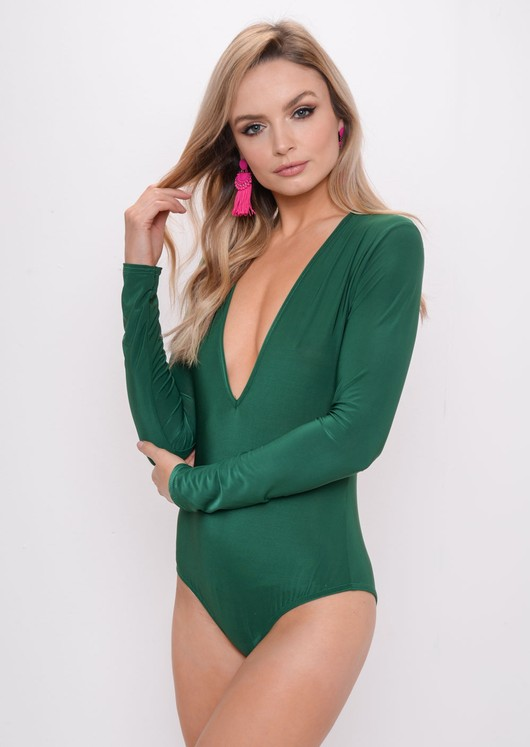 Long Sleeve Plunge Bodysuit Green