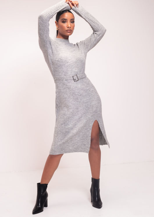 Knitted Long Sleeve Belted Side Slit Midi Jumper Dress Grey