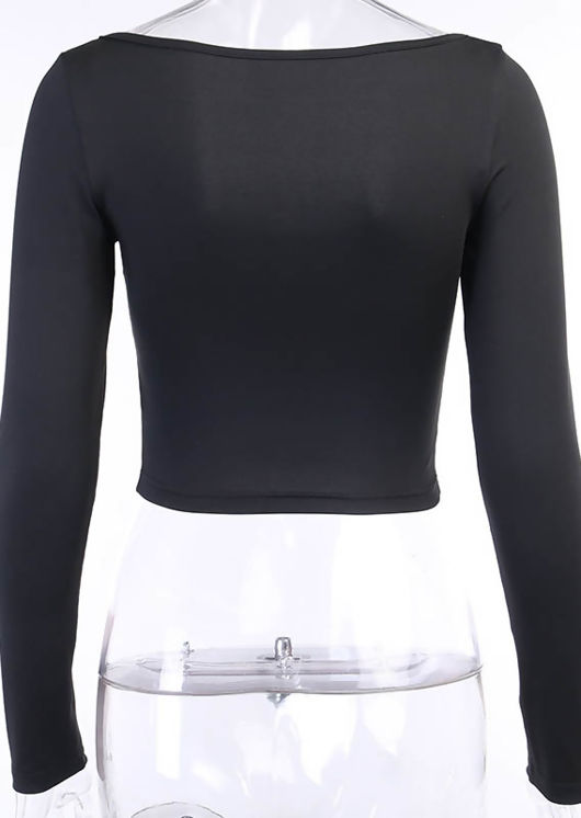 Long Sleeve Ruched Cupped Crop Top Black