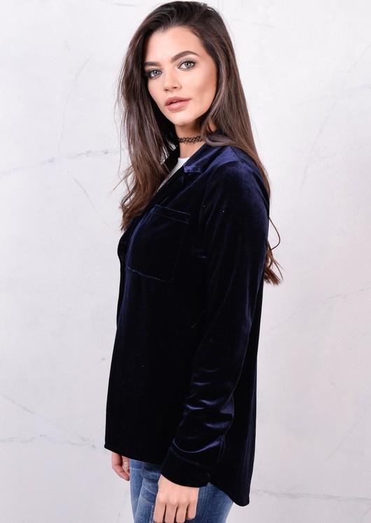Long Sleeve Velvet Buttoned Up Relaxed Shirt Navy Blue