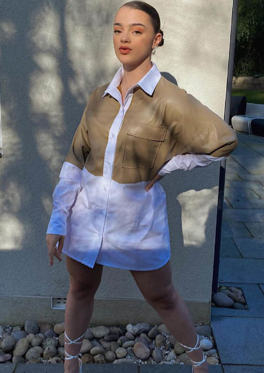 Oversized Collared Button Down PU Shirt Top Brown