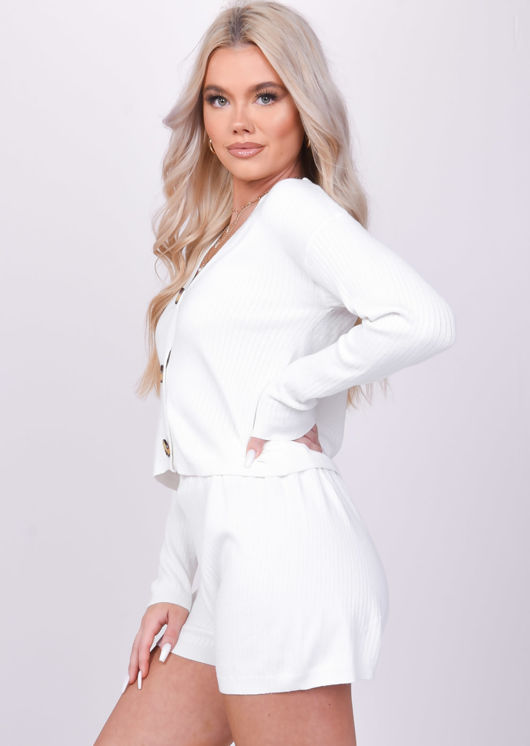 Long Sleeved Knitted V Neck Button Down Top Shorts Co Ord Set White