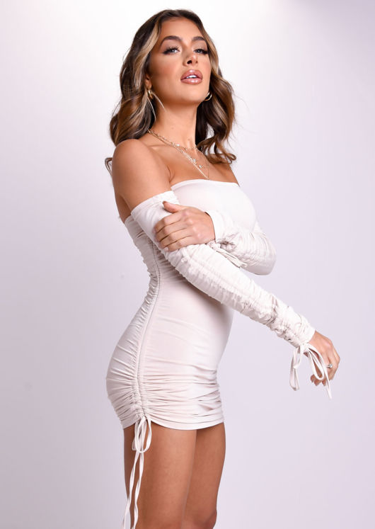 Long Sleeved Ruched Drawstring Bodycon Mini Dress Beige