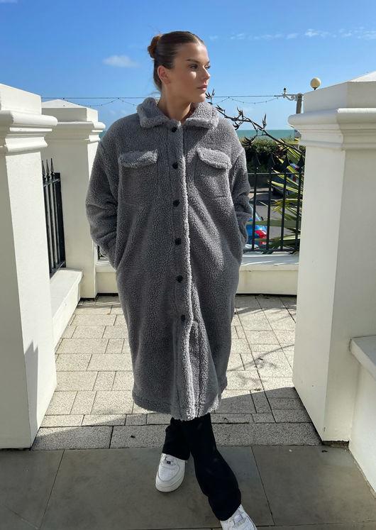 Oversized Longline Button Down Teddy Borg Coat Shacket Grey