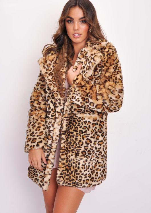430c7e22ef2f Longline Button Up Leopard Print Faux Fur Coat Multi