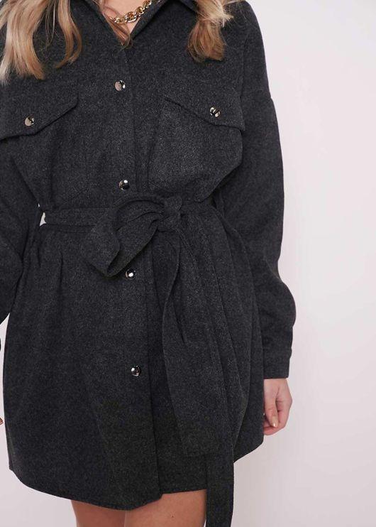 Oversized Collared Brushed Belted Utility Pockets Shacket Black