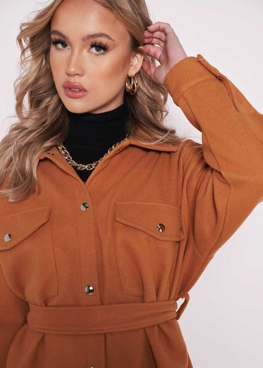 Oversized Collared Brushed Belted Utility Pockets Shacket Brown