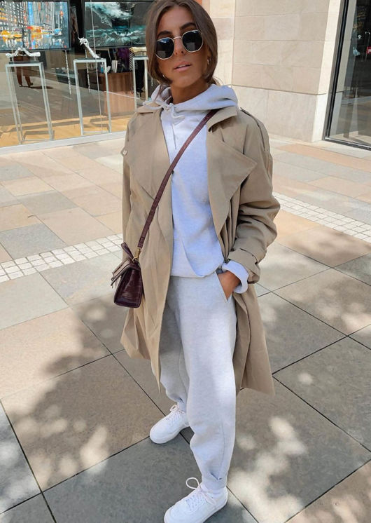 Oversized Longline Collared Buckle Belted Waist Trench Coat Beige