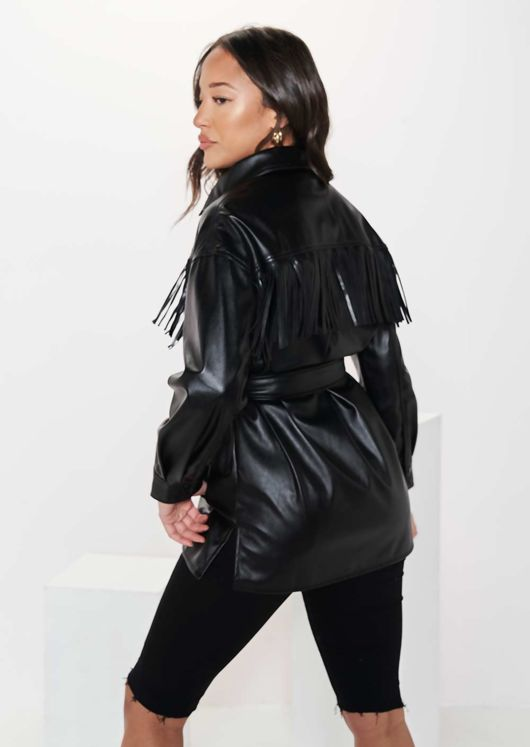 Long Sleeve Collared Chest Fringed Pu Waist Belted Shacket Black