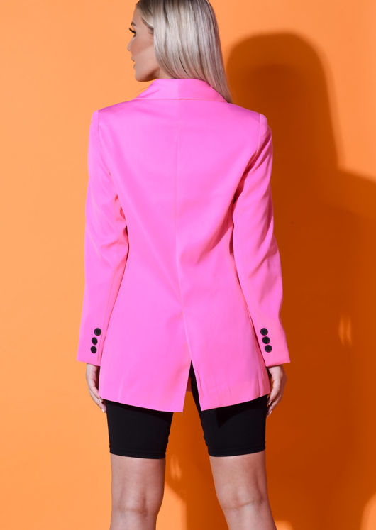 Longline Double Breasted Tailored Blazer Pink