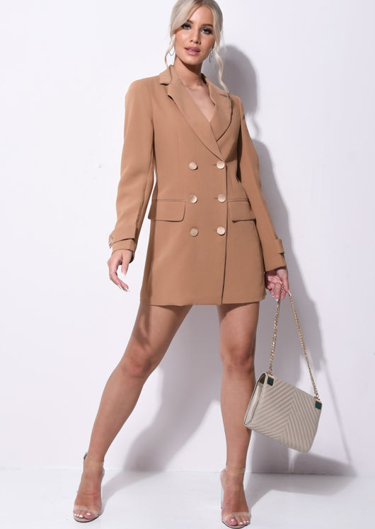 Longline Double Breasted Tailored Boyfriend Blazer Brown