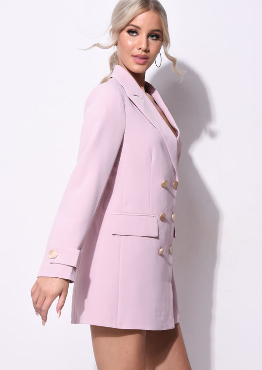 Longline Double Breasted Tailored Boyfriend Blazer Pink