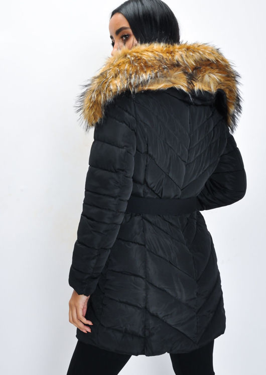 Longline Faux Fur Hooded Belted Padded Puffer Coat Black