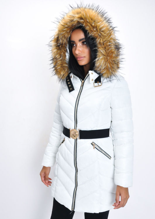 Longline Faux Fur Hooded Belted Padded Puffer Coat White