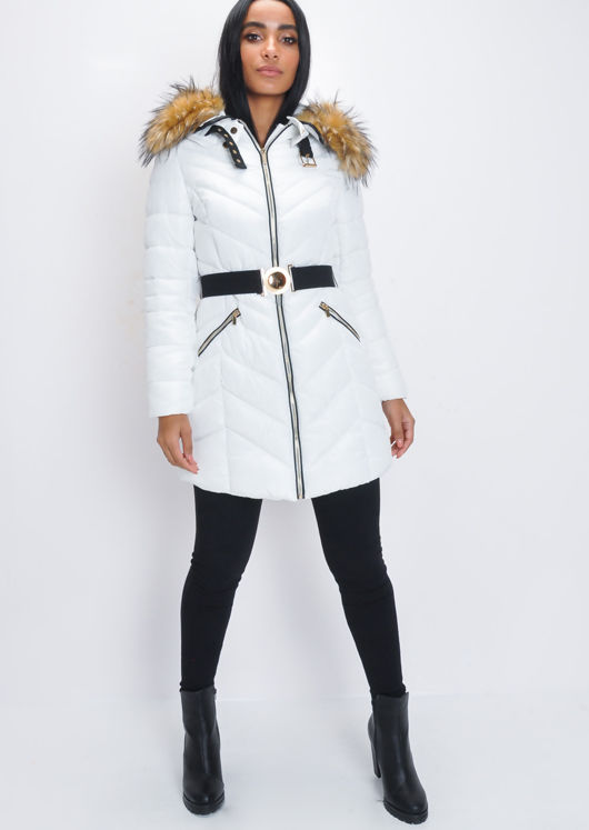 a59bb422c42d Longline Faux Fur Hooded Belted Padded Puffer Coat White