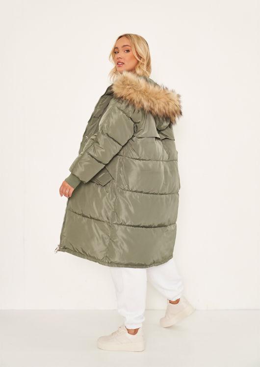 Longline Faux Fur Hooded Zip Up Panelled Puffer Coat Green