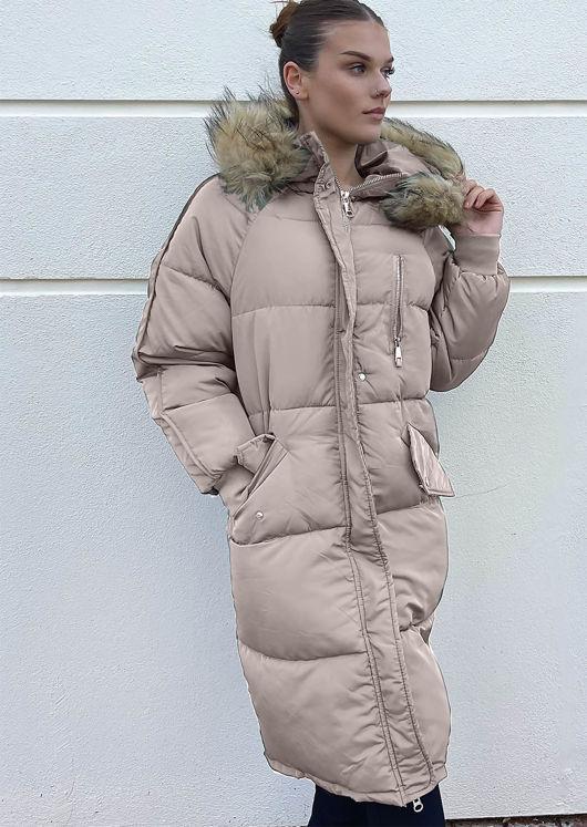 Longline Faux Fur Hooded Zip Up Panelled Puffer Coat Beige