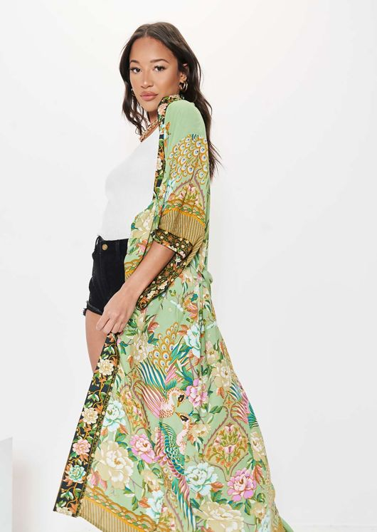 Longline Floral Animal Print Waist Tie Kimono Top Green