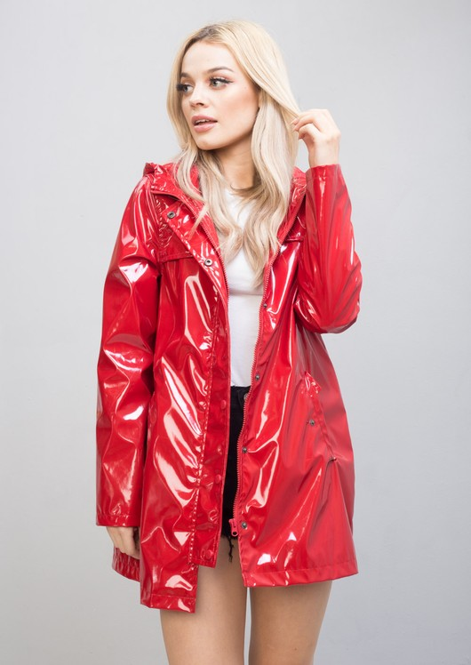 Longline High Shine Rain Mac Festival Hooded Jacket Red