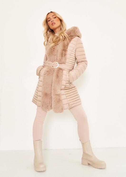 Longline Hooded Faux Fur Front Puffer Panelled Buckle Belted Coat Beige