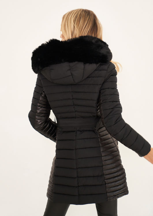 Longline Hooded Faux Fur Front Puffer Panelled Buckle Belted Coat Black
