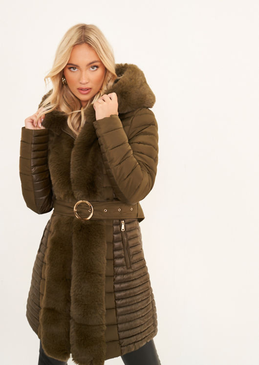Longline Hooded Faux Fur Front Puffer Panelled Buckle Belted Coat Green