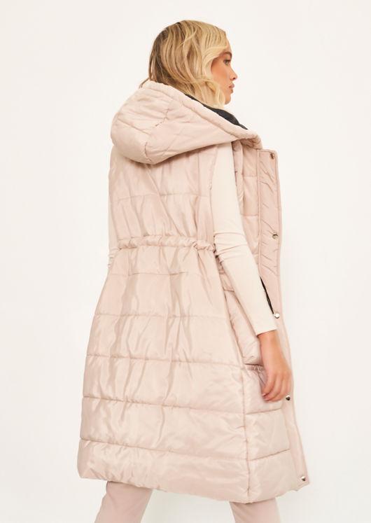 Longline Hooded Front Pocket Waisted Drawstring Puffer Gilet Beige